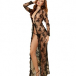 Dreamgirl Black Lace Sheer Lingerie Gown Peignoir Set With Lace G-String Platinum Desires uk